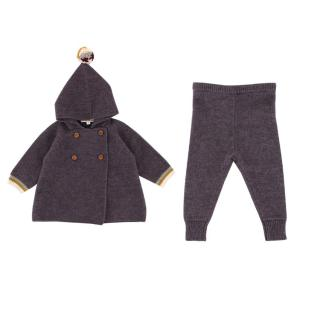 Caramel Girls 6Y Purple Knit Top & Trousers Set