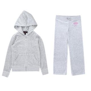 Juicy Couture Girls' 6-7Y Grey Velour Set
