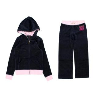 Juicy Couture Girls' 6-7Y Navy Velour Set