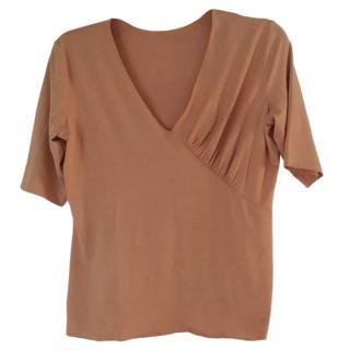 Armani Collezioni Orange Wrap Style Top