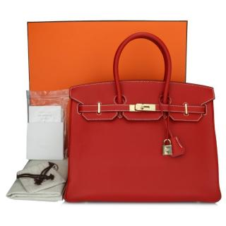 Hermes Candy Collection Rouge Casaque Bleu 35cms Epsom Leather Birkin Bag