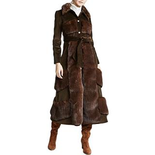A.W.A.K.E. Faux Fur And Corduroy Belted Coat