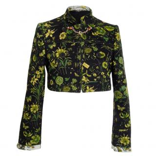 Gucci Black & Green Floral Jacquard Cropped Jacket