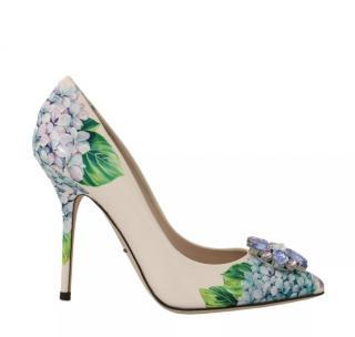 Dolce & Gabbana Hydrangea Print Crystal Embellished Pumps