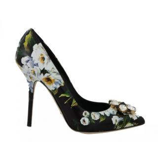 Dolce & Gabbana Peony Print Crystal Embellished Pumps
