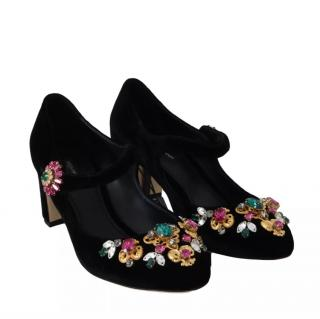 Dolce & Gabbana Black Suede Mary-Jane Embellished Pumps