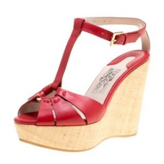 Salvatore Red Leather Wedge Sandals