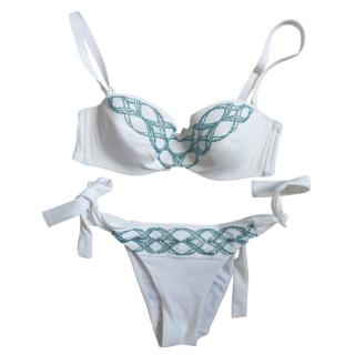 Lise Charmel White Embroidered Turquoise Bandeau Bikini