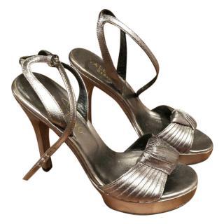 Valentino Garavani Silver Platform Sandals