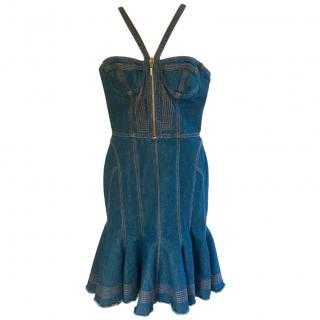 McQ Denim Fit & Flare Halterneck Bustier Dress