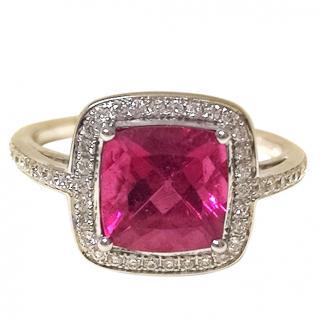Tivon Cushion Rubilite and diamond ring
