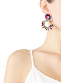 Lele Sadoughi multi coloured multi hoop earrings
