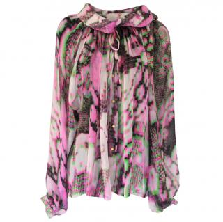 Matthew Williamson Tie Dye Printed Silk Blouse