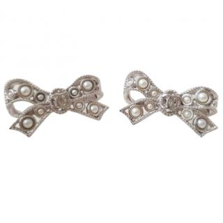 Chanel Pearl Embellished Bow Earrings