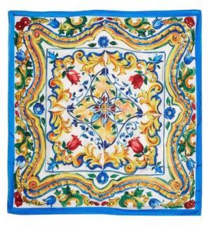 Dolce & Gabbana Maojlica Print Silk Twill Scarf