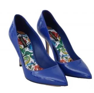 Dolce & Gabbana Blue Patent Sicily Collection Pumps