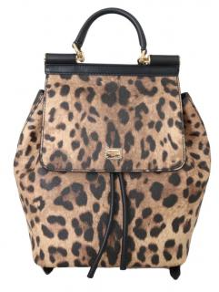 Dolce & Gabbana Leopard Print Miss Sicily Backpack