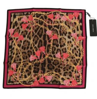 Dolce & Gabbama Silk Leopard & Pink Tassel Print Silk Wrap Scarf