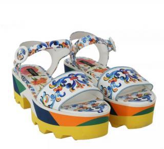 Dolce & Gabbana Majolica Print Ankle Strap Sandals