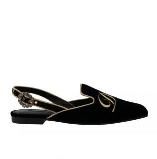 Dolce & Gabbana Velvet Crystal DG slingback sandals