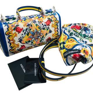Dolce & Gabbana Majolica Print Shoulder Tote Bag