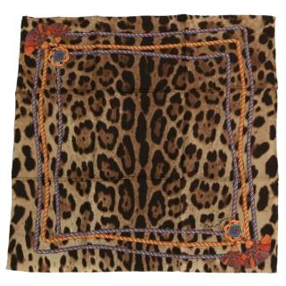 Dolce & Gabbana Leopard & Tassel Print Silk Wrap Scarf