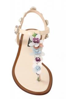 Dolce & Gabbana Floral & Pearl Embellished T-Strap Sandals