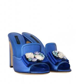 Dolce & Gabbana Blue Crystal Embellished High Mules