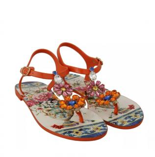 Dolce & Gabbana Majolica Print Orange Crystal Embellished Sandals