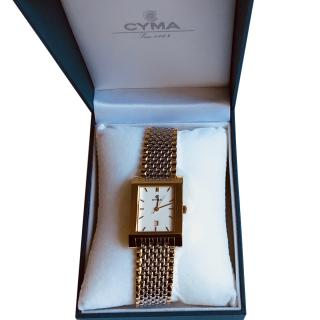 Cyma Gold Plated Stainless Steel Square Watch
