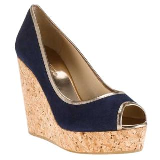 Jimmy Choo Navy Papina Suede Wedges