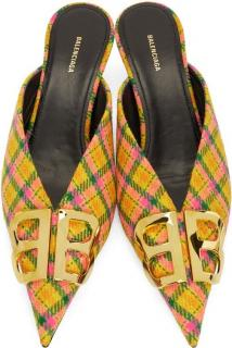 Balenciaga Yellow Plaid BB Mules