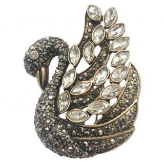 Bespoke crystal-encrusted swan brooch