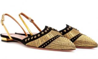Aquazzura Marrakech gold-embroidered suede flat pumps
