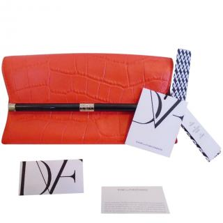 Diane von Furstenberg crocodile-effect clutch bag