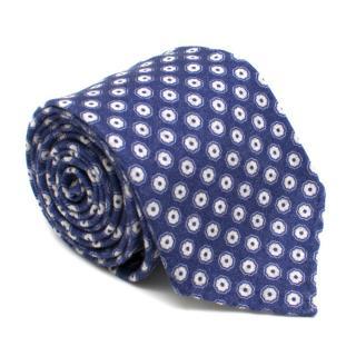 Ulturale Napoli Blue Floral Print Wool Tie