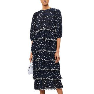 Ganni Lowell ruffled polka-dot chiffon dress