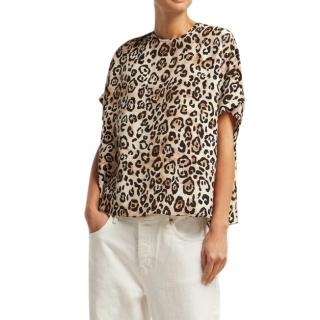 Raey Square Leopard Print Silk Top