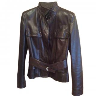 Yves Saint Laurent Black Soft high Neck Leather Jacket