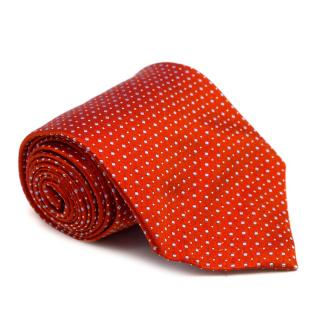 E. Marinella Napoli Red Patterned Silk Tie