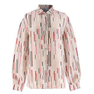 Prada Silk Nude Multi-coloured Line Patterned Shirt