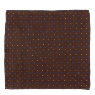 E. Marinella Brown Floral Print Pocket Square