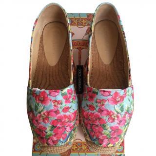 Dolce & Gabbana Blue & Pink Floral Espadrilles