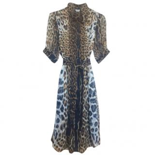 Yves Saint Laurent Leopard Print Chiffon Dress