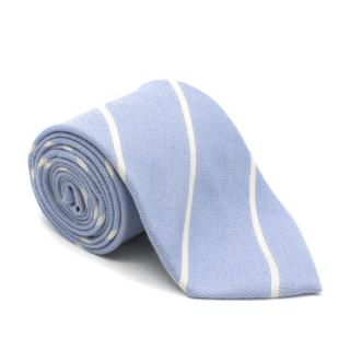 E. Marinella Blue Striped Cashmere Tie