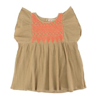 Bonpoint Girls 4Y Light Brown Crepon Blouse