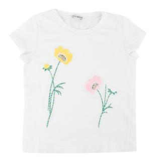 Simonetta Kids Girls Embroidered Sequin Floral T-Shirt