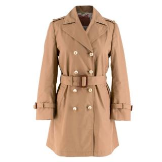 Gucci Brown Faux-Pearl Buttoned Trench Coat