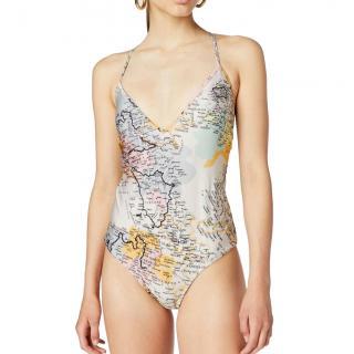 Derek Lam V-Neck Map Print Swimsuit