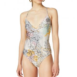 Derek Lam V-Neck Map Print Swimsuit